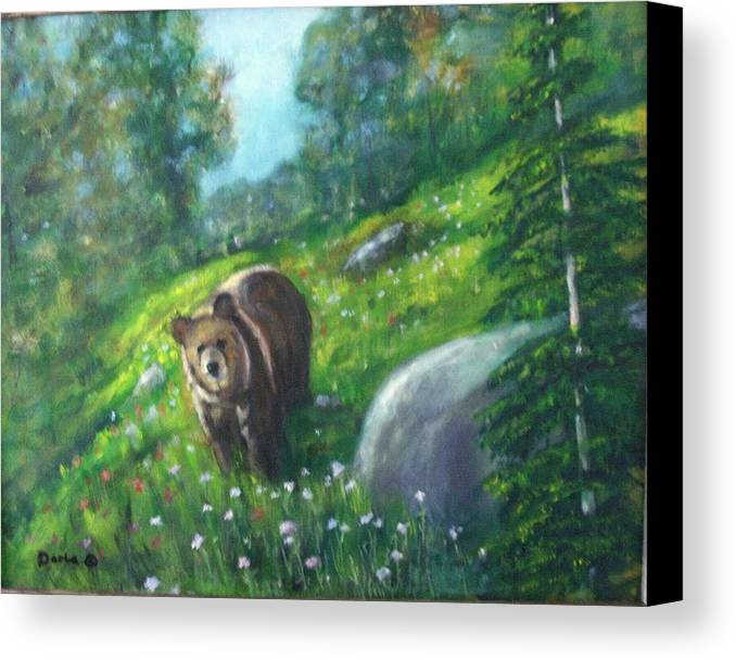 Wildlife Canvas Print featuring the painting Rocky Mountain Spring by Darla Joy Johnson