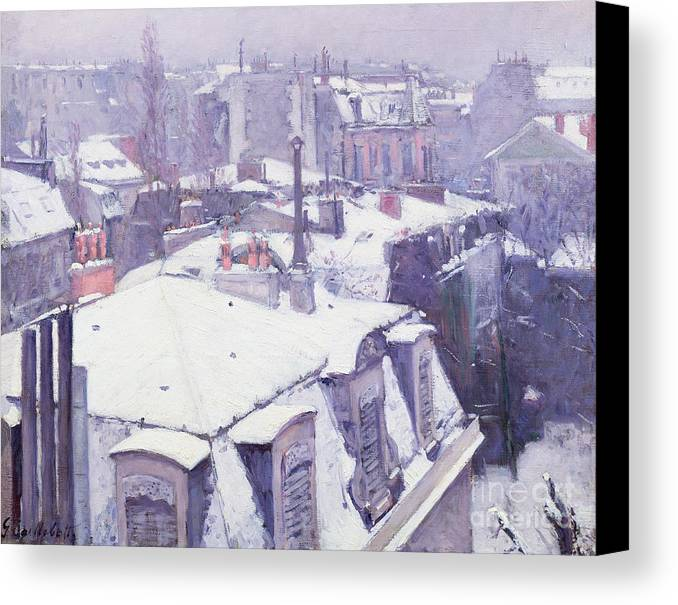 Snow Canvas Print featuring the painting Roofs Under Snow by Gustave Caillebotte