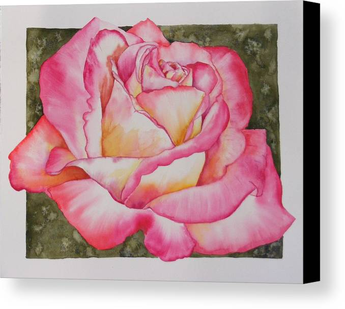 Red Canvas Print featuring the painting Rose 4 by Diane Ziemski