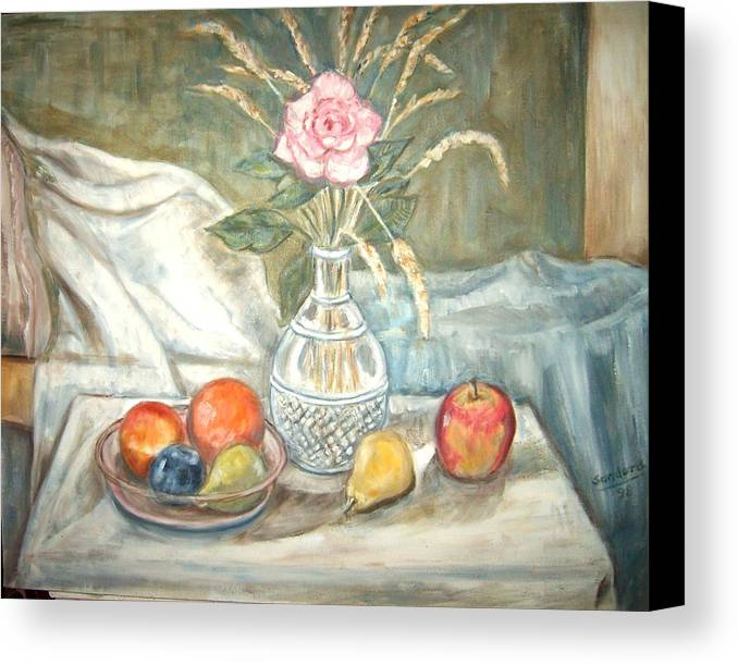 Still Life Fruit Rose Bottle Flowers Canvas Print featuring the painting Rose With Fruit by Joseph Sandora Jr