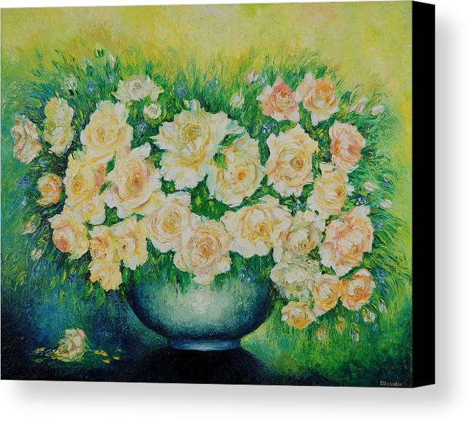 Painting Canvas Print featuring the painting Roses. by Evgenia Davidov
