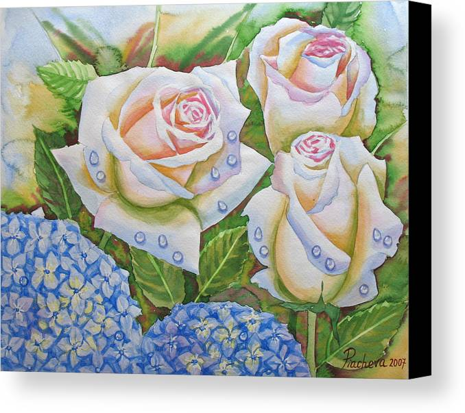 Flowers Canvas Print featuring the painting Roses.2007 by Natalia Piacheva
