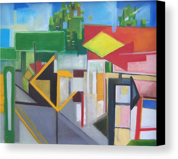 Suburban Canvas Print featuring the painting Route Forty Six Ft.lee Leonia by Ron Erickson