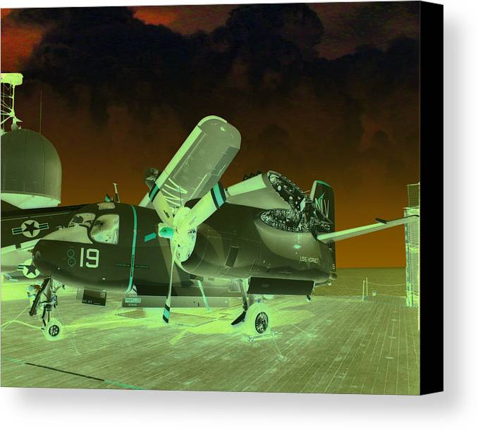 Airplane Canvas Print featuring the digital art S2 On Deck by Mike Ray