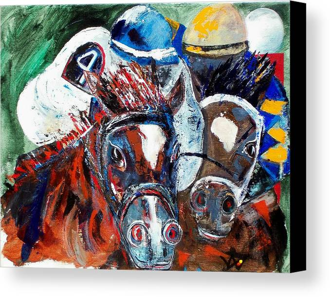 Horse Canvas Print featuring the painting Saratoga Duo by Valerie Wolf