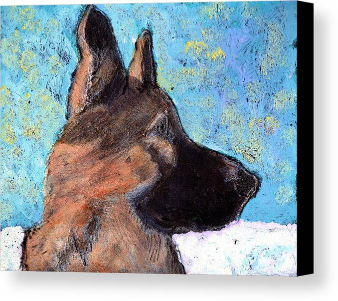 Dog Canvas Print featuring the painting Sarge II by Wayne Potrafka
