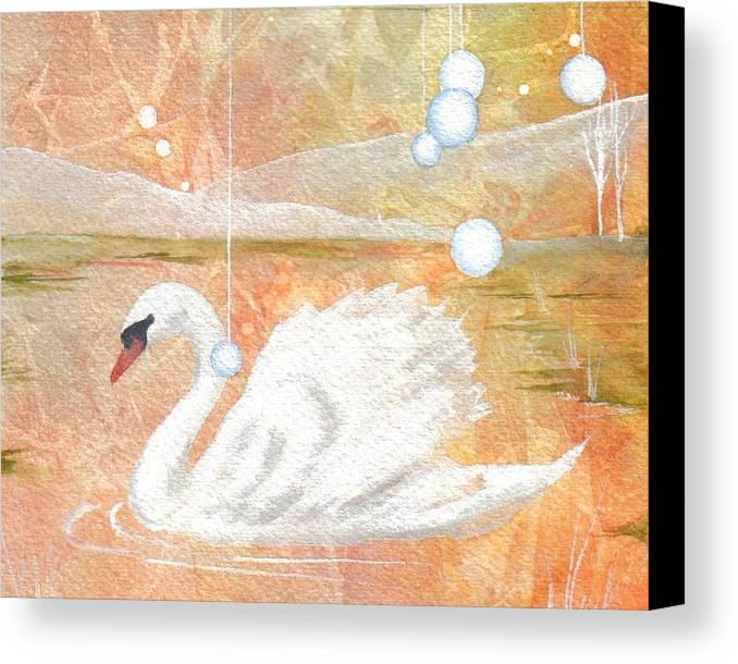 Swan Canvas Print featuring the painting Serena's Sanctuary by Jackie Mueller-Jones