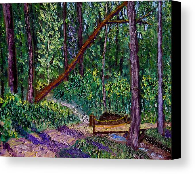 Landscape Canvas Print featuring the painting Sewp Trail Bridge by Stan Hamilton