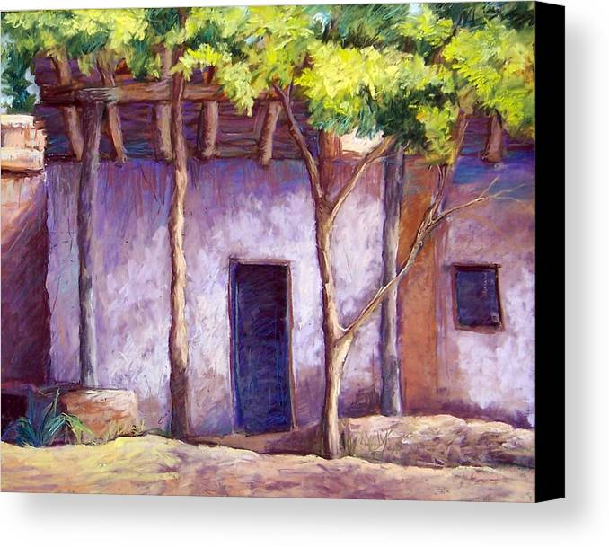 Landscape Canvas Print featuring the pastel Shadowed Ruins by Candy Mayer
