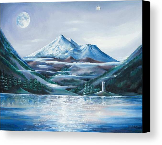Mystical Landscape Canvas Print featuring the painting Shasta Water by Kathleen Boyle Magnuson