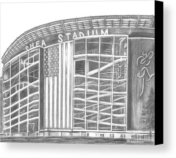 Shea Stadium Canvas Print featuring the drawing Shea Stadium by Juliana Dube
