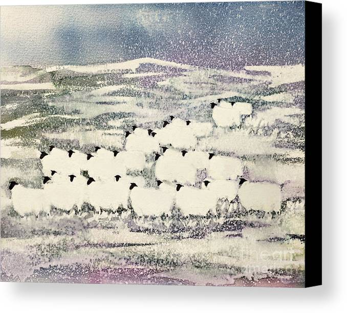 Sheep In Winter By Suzi Kennett (contemporary Artist) Canvas Print featuring the painting Sheep In Winter by Suzi Kennett