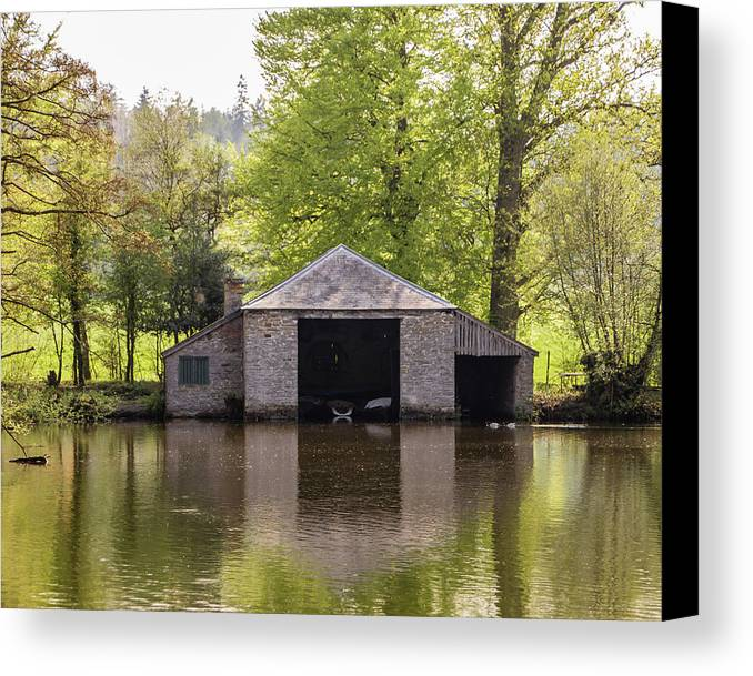 Boathouse Canvas Print featuring the photograph Shropshire Boathouse by Edward Burchnall