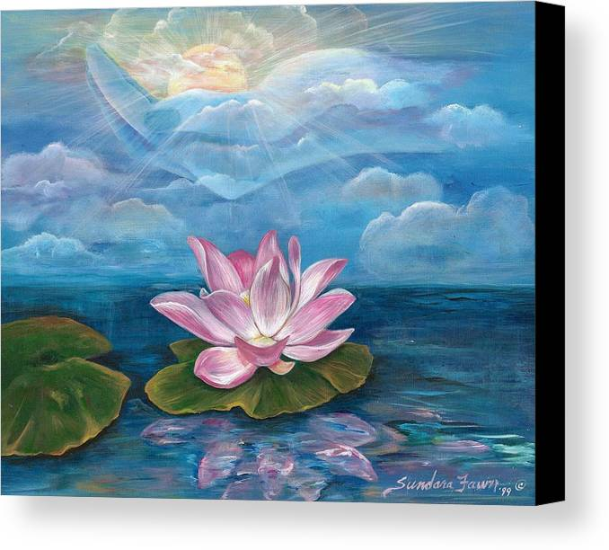 Lotus Canvas Print featuring the painting Silent Wisdom by Sundara Fawn