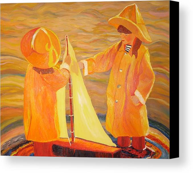 Sisters Canvas Print featuring the painting Sisters by Dorota Nowak
