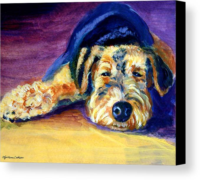 Airedale Terrier Canvas Print featuring the painting Snooze Airedale Terrier by Lyn Cook