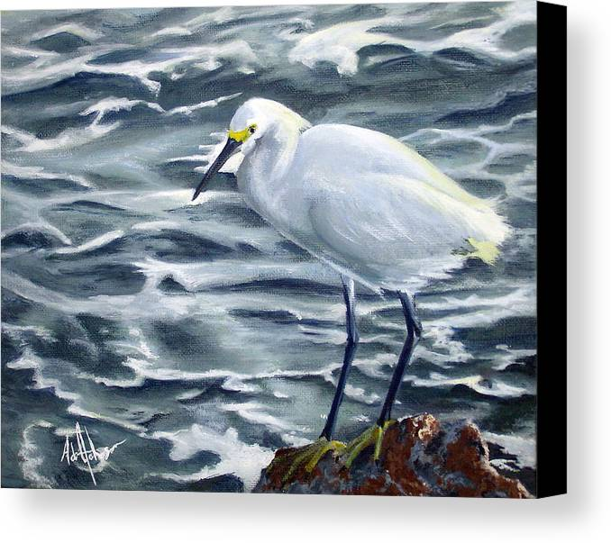 Egret Canvas Print featuring the painting Snowy Egret On Jetty Rock by Adam Johnson