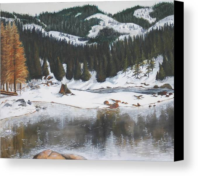 Snow Canvas Print featuring the painting Snowy Lake by Travis Day