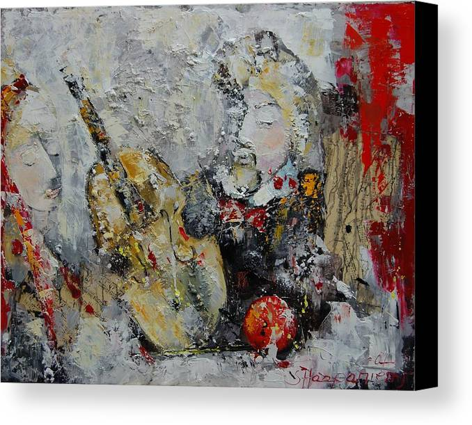 Abstract Canvas Print featuring the painting Sound Of Love by Sari Haapaniemi