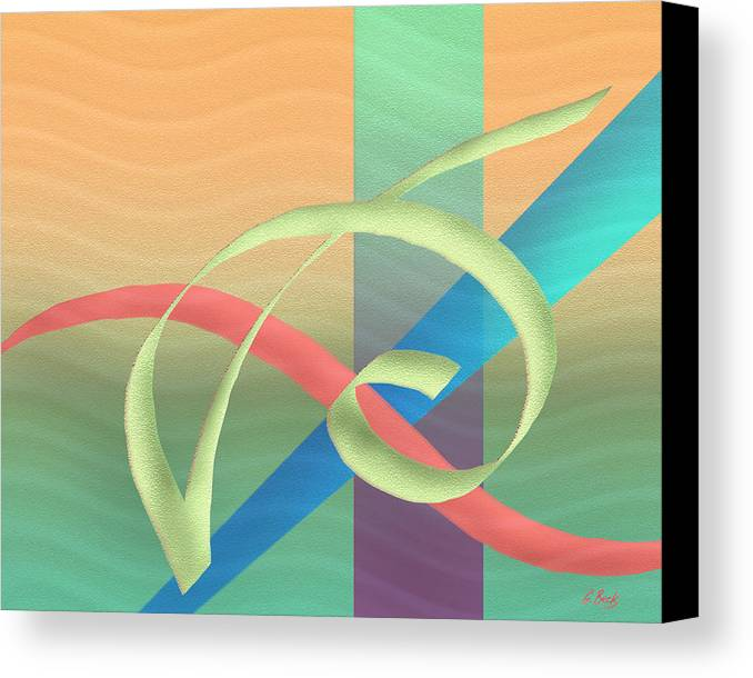 Contemporary Abstract Design Fluid Flowing Tropical Colors Gordon Beck Art Canvas Print featuring the painting South Wind by Gordon Beck