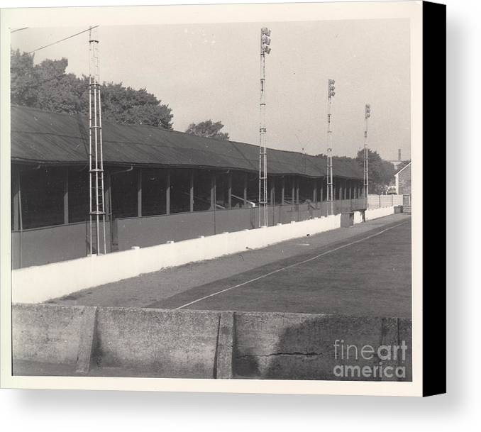 Canvas Print featuring the photograph Southport Fc - Haig Avenue - Old Main Stand - Bw - Early 60s by Legendary Football Grounds