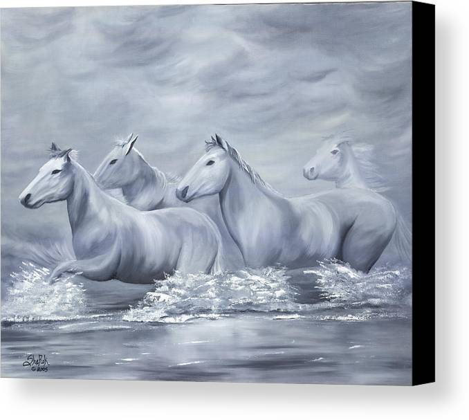 Horses Canvas Print featuring the painting Spirit by SheRok Williams
