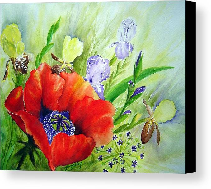 Poppy Iris Floral Painting Canvas Print featuring the painting Spring Splendor by Joanne Smoley