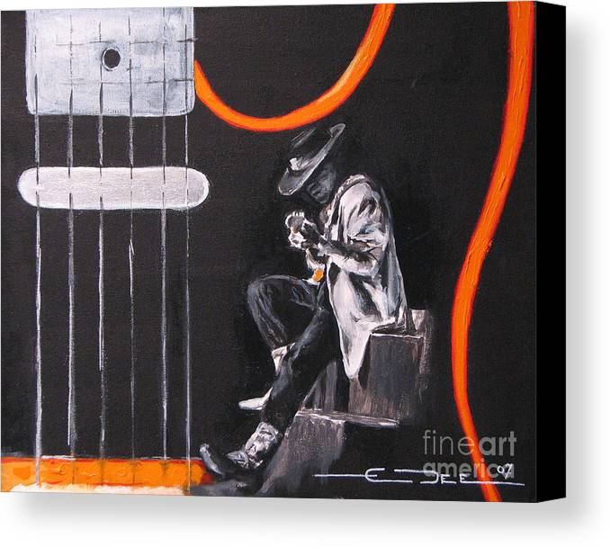 Stevie Ray Vaughn Canvas Print featuring the painting Srv - Stevie Ray Vaughn by Eric Dee