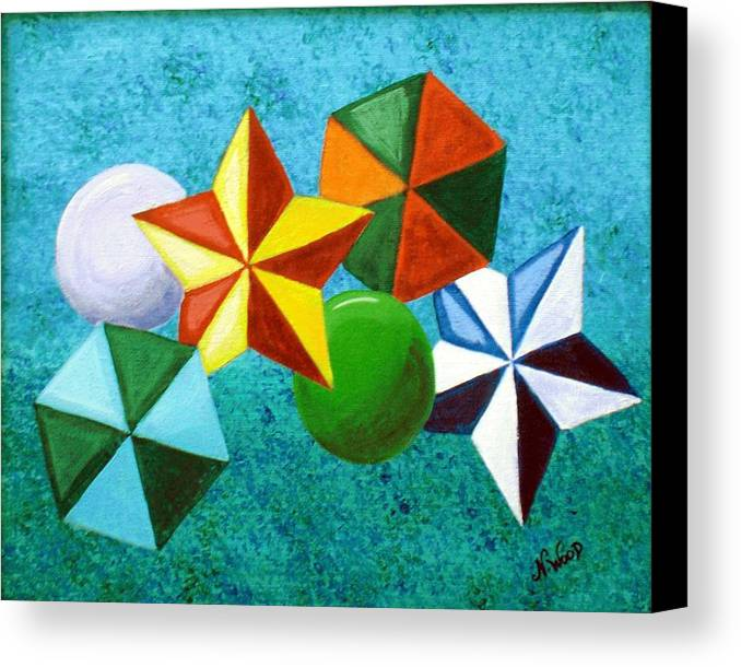 Stars Canvas Print featuring the painting Stars Circles And Hexagons by Nancy Sisco