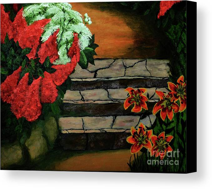 Steps Canvas Print featuring the painting Steps To Somewhere by Michell Lazov