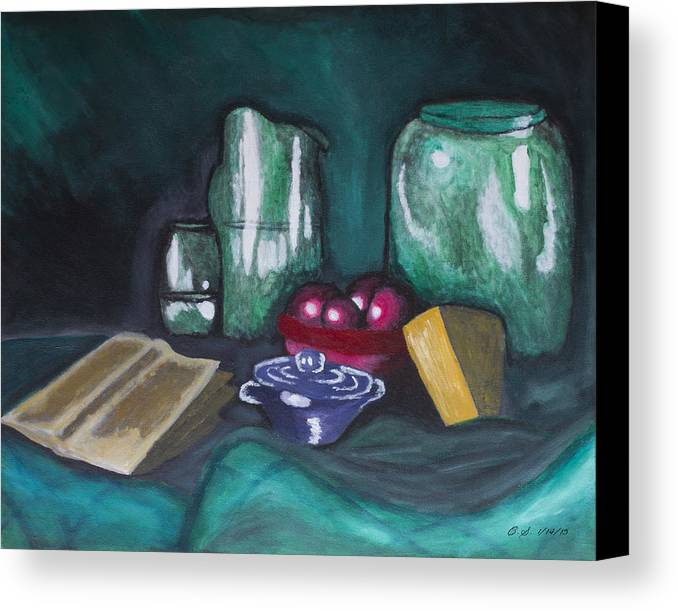 Still Life Cheese Apple Bowl Fruit Book Green Red Blue Orange Brown Pitcher Jar Cloth Traditional Plum Water Reflect Reflection Canvas Print featuring the painting Still Life Green by Christopher Sprinkle