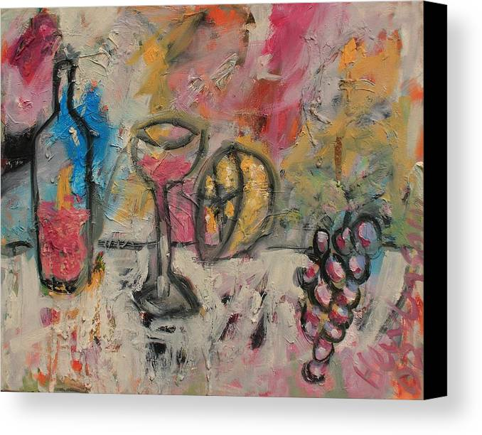 Stil Life Canvas Print featuring the painting Still Life With Bottle by Michael Henderson