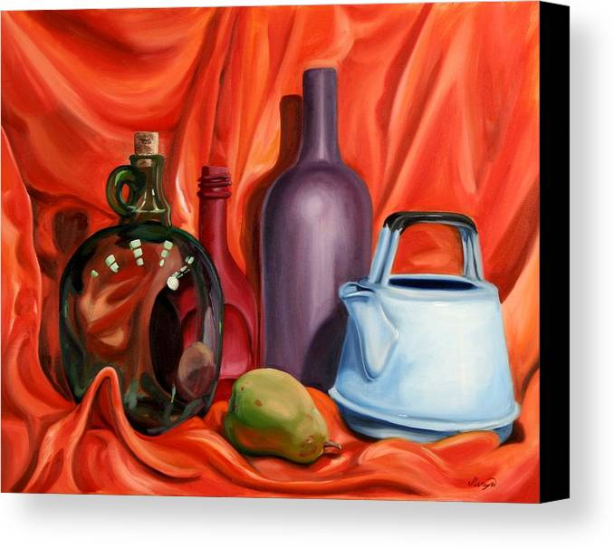 Still Life Canvas Print featuring the painting Still Life With Pear by Maryn Crawford