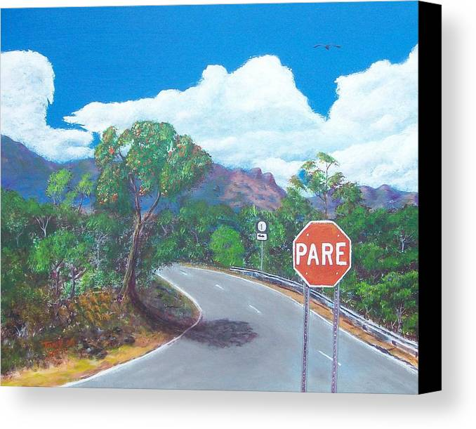 Landscape Canvas Print featuring the painting Stop Sign by Tony Rodriguez
