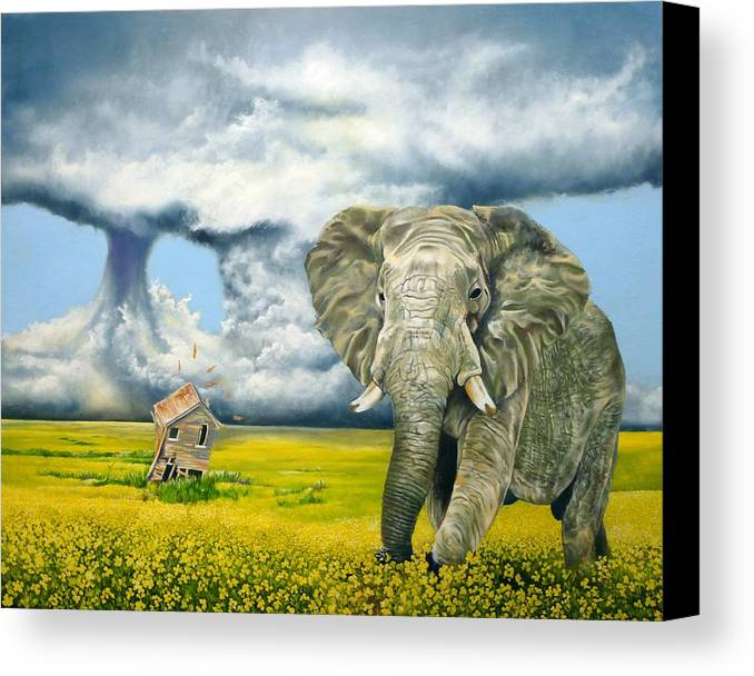 Elephant Canvas Print featuring the painting Storm Field by Gordon Behr