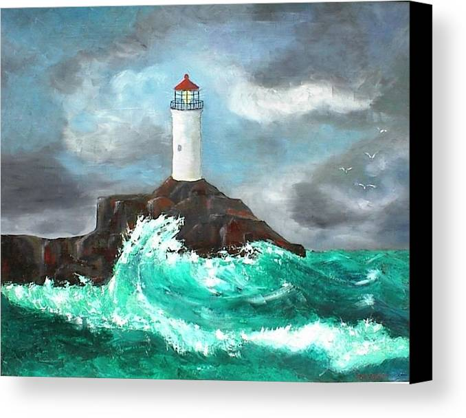 Waves Canvas Print featuring the painting Stormy Ligthouse by Paul O Shaskan