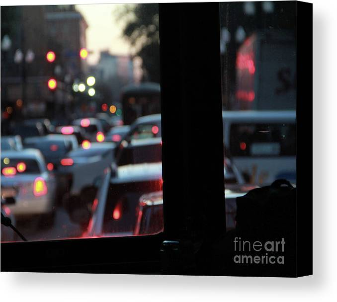 Street Car Canvas Print featuring the photograph Stret Car Traffic by James Foshee