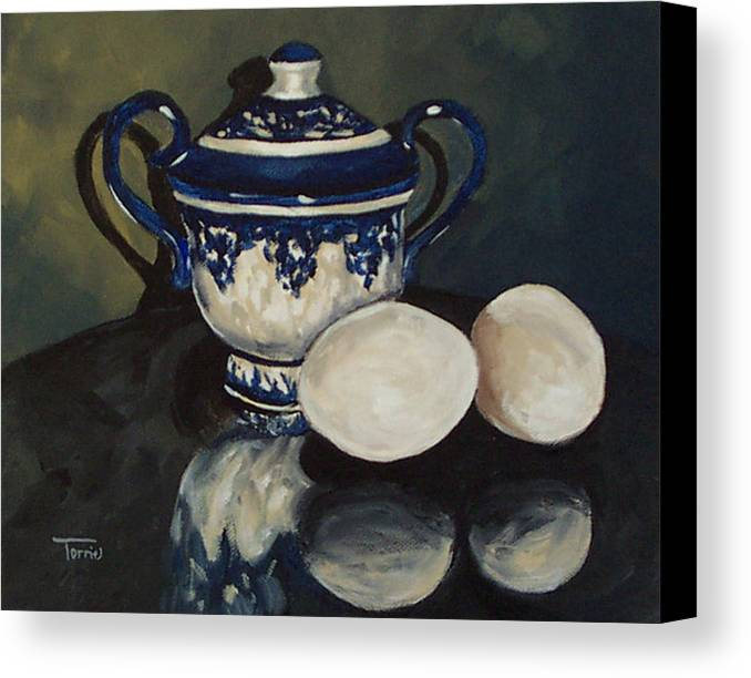 Flow Blue Canvas Print featuring the painting Sugar And Eggs by Torrie Smiley