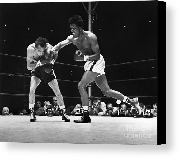 1957 Canvas Print featuring the photograph Sugar Ray Robinson by Granger