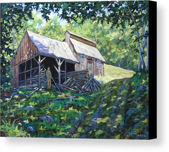 Sugar Shack Canvas Print featuring the painting Sugar Shack In July by Richard T Pranke