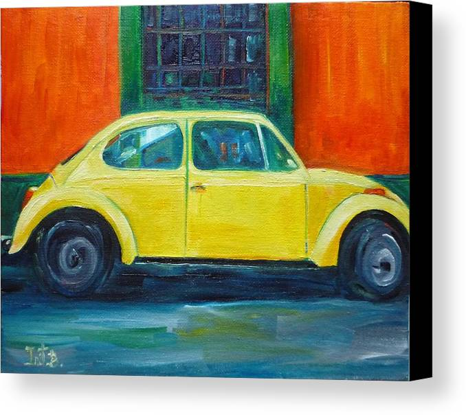 Car Canvas Print featuring the painting Sunny Side Up by Irit Bourla