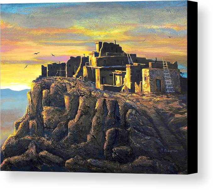 Landscape Canvas Print featuring the painting Sunrise Citadel by Brooke Lyman