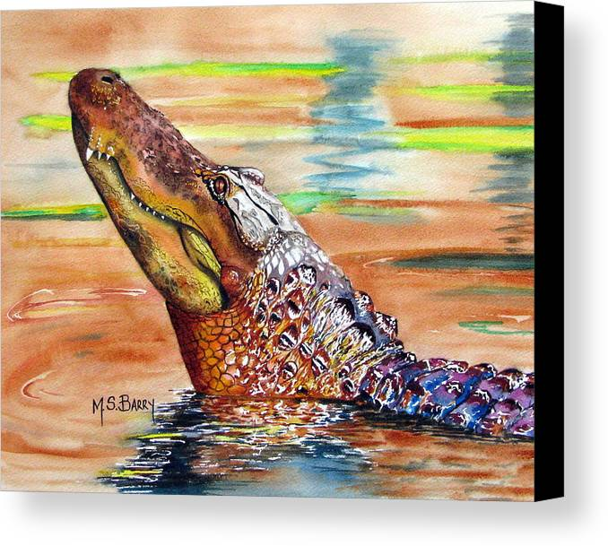 Alligator Canvas Print featuring the painting Sunset Gator by Maria Barry