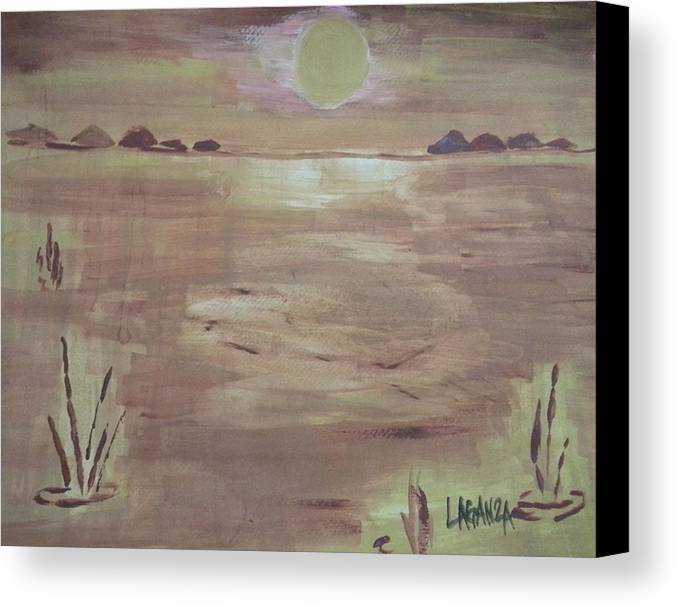 Sunset Canvas Print featuring the painting Sunset On The Desert by Marialyn Laganza