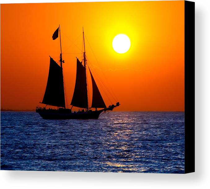 Yellow Canvas Print featuring the photograph Sunset Sailing In Key West Florida by Michael Bessler
