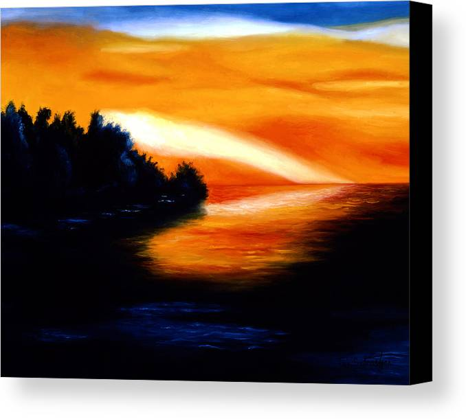 Pop Art Canvas Print featuring the painting Sunset by Tak Salmastyan