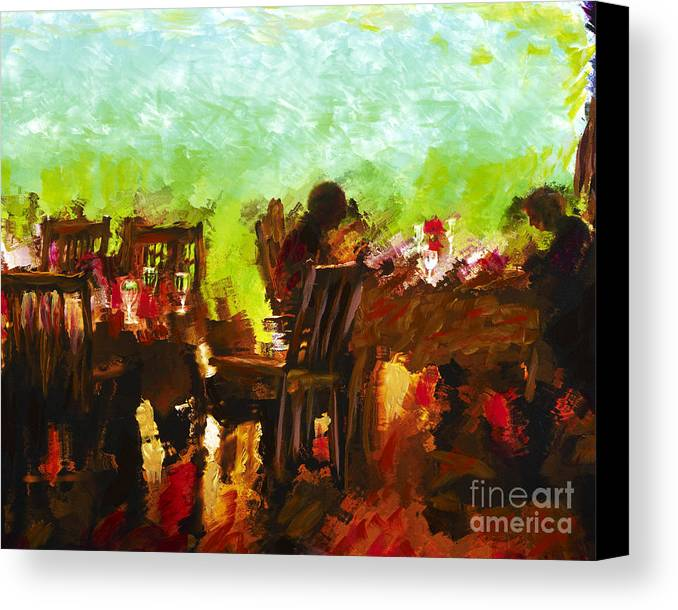 Dining Canvas Print featuring the mixed media Sunset Terrace Intimacy by Marilyn Sholin