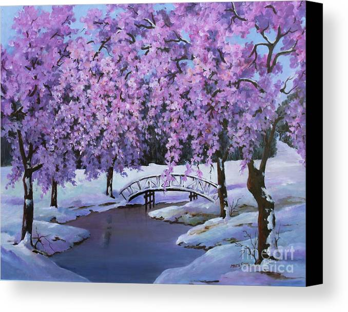 Landscape Canvas Print featuring the painting Surprise At Spring Time by Marta Styk