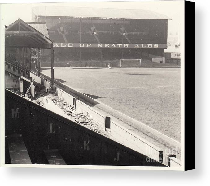 Canvas Print featuring the photograph Swansea - Vetch Field - West Terrace 2 - Bw - 1960s by Legendary Football Grounds