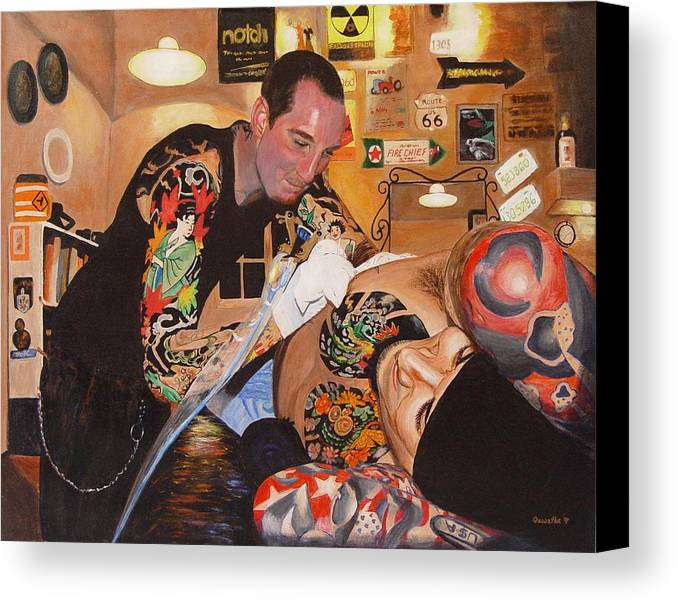 Portrait Canvas Print featuring the painting Tattoo Artist by Quwatha Valentine